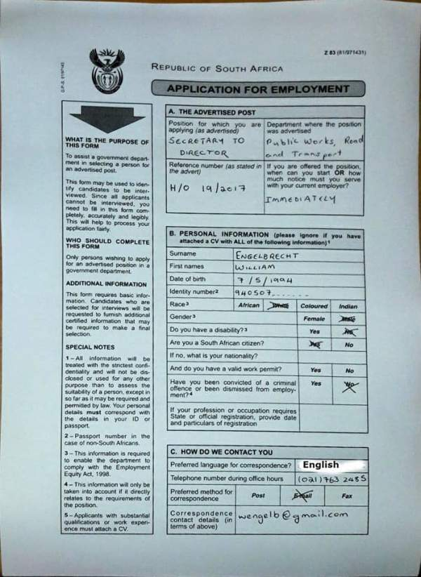 Example Of Filled Z83 Form 2021